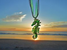 Hammock Life Green Murano Glass Seahorse Pendant with Ribbon & Cord Necklace
