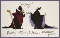 Andreas Deja's card to Marc Davis for his 80th birthday. The card depicts Jafar, animated by Dejas, asking Maleficent, animated by Davis, to dance.
