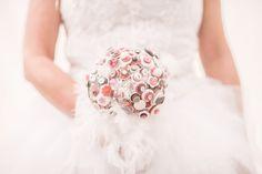 Bouquet de mariée en boutons, bouquet de mariée artificiel rose blanc et gris