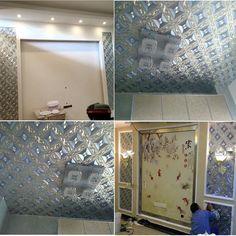 QIHANG Luxury Silver Foil Mosaic Square Lattice Background Flicker Wallpaper Gold Leaf Wallpaper Modern Roll/hotel Ceiling/decorative Wallpaper Roll Silver&Blue Color 1.73' W x 32.8' L=57 sq.ft - - Amazon.com