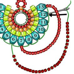 Pick up one more (for a total of and add it passing under the thread connecting the the last two beads. Bead Jewellery, Seed Bead Jewelry, Seed Bead Earrings, Diy Earrings, Diy Jewelry, Jewelry Making, Seed Bead Tutorials, Beading Tutorials, Beaded Earrings Patterns
