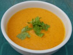 Chilled Spice-Roasted Carrot Soup with Yogurt - Mmmm Yummy stuff. Make with young Nantes or Chantenay pulled fresh from your garden for a touch of extra sweetness.