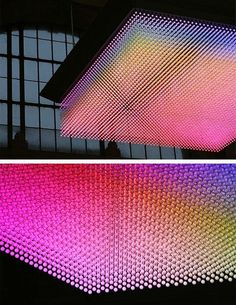 This is NOVA, a LED display, developed by the Swiss Federal Institute of Technology Zurich to celebrate their anniversary. Light Art Installation, Interactive Installation, Deco Design, Design Art, Design Ideas, Light And Space, Led Lampe, Stage Design, Digital Technology
