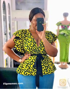 African Print Peplum Top, African Print Dress Designs, African Print Fashion, African Prints, Ankara Tops Blouses, Ankara Blouse, African Blouses, Ankara Peplum Tops, Ankara Dress