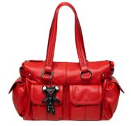 This is my dream nappy bag, Il Tutto Mia in red leather....................but at $449, I'm unlikely to ever have one!  Don't you love the monster teddy?  I dangle various creatures off my nappy bags to replicate this look for less $$$.