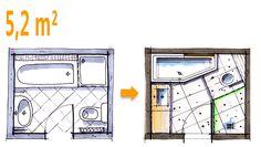 Badplanung Beispiel 5,2 qm Modernes Komplettbad mit pfiffiger Raumaufteilung