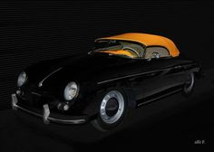 'Porsche 356 A Speedster in black & yellow 01' created by www.Oldtimerphotography.de