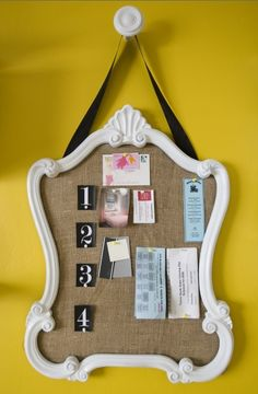 cute bulletin board alternative - originally from http://www.houzz.com/photos/106745/Den---Home-office--eclectic-home-office-other-metros