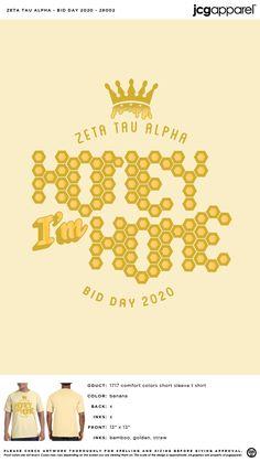 Zeta Tau Alpha Bid Day Shirt | Sorority Bid Day Shirt | Greek Bid Day Shirt #zetataualpha #zeta #zta #Bid #Day #Shirt #honey #im #home Sorority Bid Day, Sorority And Fraternity, Bid Day Shirts, Bid Day Themes, Zeta Tau Alpha, Custom Design Shirts, Comfort Colors, Screen Printing, Colorful Shirts
