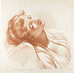 Jean-Baptiste Lucien (français, 1748-1806) après Jean-Baptiste Greuze (français, 1725-1805) publié par François Étienne Joubert (français 1787-1836), chef d'une jeune femme endormie
