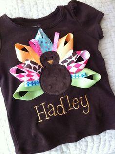 Turkey shirt w ribbon tail feathers so cute! #DIY #thanksgiving baby