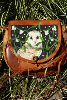 hand carved and coloured barn owl bag with mistletoe featuring front and back pockets