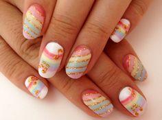 OHMYGOD, so cute!! #nail #rainbow #gold http://cherrybutton.tumblr.com/post/29112787035