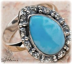 Dominican Larimar  Sterling silver 925 Ring by LightstonesCrystals, $32.99