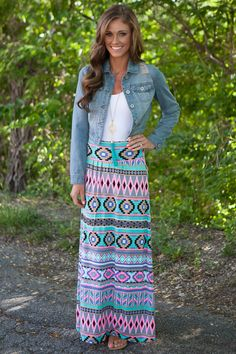 Blue and Ivory Printed Maxi Skirt | Stylists, Coloring and Stitches