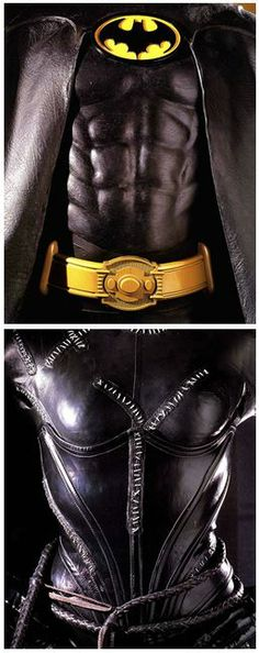 Michael Keaton's Batman costume and Michelle Pfeiffer's Catwoman costume from Batman Returns.