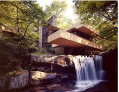 Fallingwater House / Frank Lloyd Wright. This is one of my favorite houses. I love how Wright was able to combine nature and architecture to create such a serene and modern space.