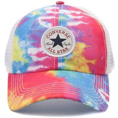 Converse Tie Dye Trucker Cap ❤ liked on Polyvore featuring accessories, hats, curved brim snapback hats, twill hat, logo hats, strap hats and trucker hats