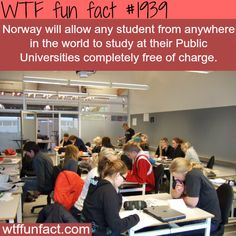 In Norway, universities are publicly funded so students are not charged tuition or fees. This also applies to foreign students, no matter which country you come from. If you think the US should copy Norway, please SHARE this with your friends! The More You Know, Good To Know, Did You Know, Wtf Fun Facts, Funny Facts, Random Facts, Crazy Facts, Random Stuff, Tips & Tricks