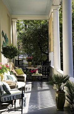Charleston Piazza, that's a porch to ya'll Southern Front Porches, Southern Homes, Southern Style, Southern Living, Country Porches, Southern Charm, Home Porch, House With Porch, Outdoor Rooms