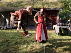 A leap back in time. Backward jumping contest. viking game