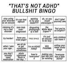 10 best memes for people with ADD/ADHD. My favorite memes in one collection. Perfect for your short attention span! Mental Disorders, Anxiety Disorder, Add Disorder, Bingo, Adhd Funny, Adhd Humor, Adhd Facts, Adhd Quotes, Anxiety Quotes