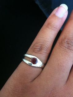 Sterling Silver fork ring with Garnet adjustable by aprilluster, $30.00