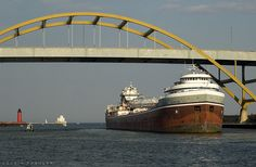 S/S Wilfred Sykes, Milwaukee, WI, under the Hoan Bridge, near the Jones Island docks.