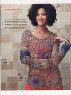 Blusa crochet beige y azules, con flores muy grandes Crochetemoda: Blusas