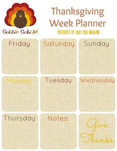 Thanksgiving Planner Printables FREE 4 pack.  Coupon planner, week planner, day planner and shopping list