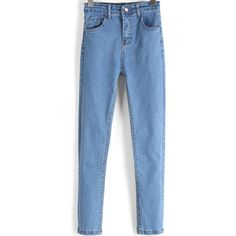 SheIn(sheinside) Blue High Waist Slim Denim Pant ($19) ❤ liked on Polyvore featuring jeans, pants, bottoms, sheinside, blue, high-waisted jeans, high waisted denim jeans, high rise skinny jeans, long jeans et slim fit jeans