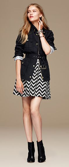 Cinch the waist by tying the belt instead of buckling it; leave coat unbuttoned from waist down to show your cute skirt/pants; Chevron Skirt, Swing Coats, Ethical Clothing, How To Roll Sleeves, Cute Skirts, Petite Fashion, Autumn Fashion, Dresses For Work, Banana Republic