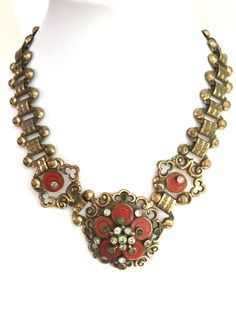 Rare SIGNED SANDOR Enamel and Gold Bookchain Choker Necklace with Rhinestones - Unusual and Beautiful! by benjiboyvintage on Etsy https://www.etsy.com/listing/249798984/rare-signed-sandor-enamel-and-gold