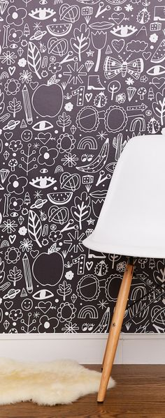 Cover your wall with doodles by NY illustrator Jordan Sondler on easy peel-and-stick wallpaper.