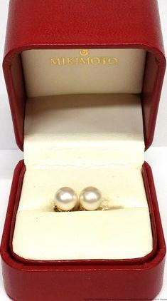 da53c8be58b Mikimoto 18K Gold 7.5mm Cultured Akoya Pearl Vintage Stud Earrings Orig Box  #Mikimoto #