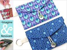 Re-imagine & Renovate - Put A Gift In It: Fabric Wallets - free tutorial at Sew4Home - original tutorial: http://www.sew4home.com/projects/storage-solutions/necessities-go-mini-clutch-simple-marks-moda-fabrics