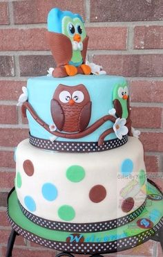 Baby Boy Owl Shower Cake