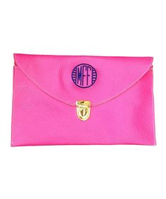 This Hot Pink Monogram Clutch by Pretty Printing is perfect! #zulilyfinds