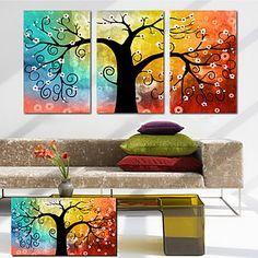 canvas uppsättning 3 botanisk färgrik hoppfull livsträd Sträckt Canvastryck redo att hänga - SEK Kr. 562