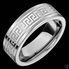 New White 8mm Wide Mens Tungsten Rings Engagement Wedding Band Greek Key Design Alainraphael