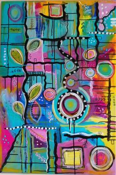'Breakout', mixed media on canvas 36 x 24 inches - Abstractedly Yours #abstract #art #mixedmedia