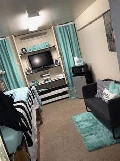 Efficient Dorm Room Organization Decor - Home Design Dorm Room Styles, Dorm Room Designs, Bedroom Designs, Living Room Decor, Bedroom Decor, Bedroom Ideas, Girls Bedroom, Master Bedroom, Teal Teen Bedrooms