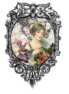 Vintage lady for print