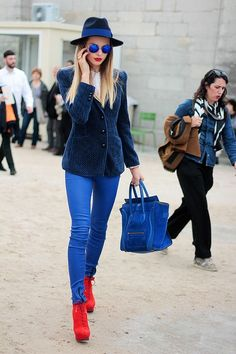 red boots + blue jacket