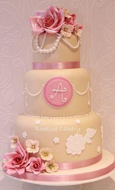 Vintage rose & pearls wedding cake. #Pink #Ivory #White @Jason Stocks-Young Jones Style Weddings