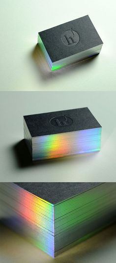 Cool Business cards | Branding ideas | Diffraction Edge Painted Letterpress Business Card