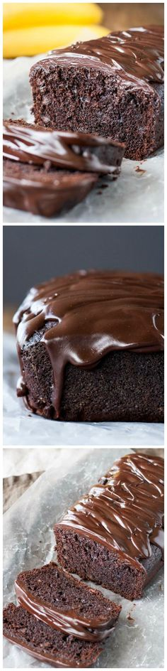 This rich chocolate banana bread is loaded with chocolate chips and topped with a dark chocolate ganache.