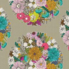 Sarah Watson - Garden Secrets Voile - Bouquet Voile in Khaki