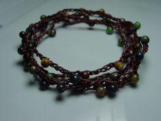 Crochet beaded multi strand bracelet earthtones by Mebredesigns, $25.00