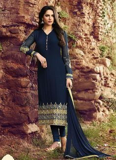 Looking superb with attachment of Navy Blue Georgette Unstitched Salwar Kameez. The lovely Resham & Lace work a substantial attribute of this attire.